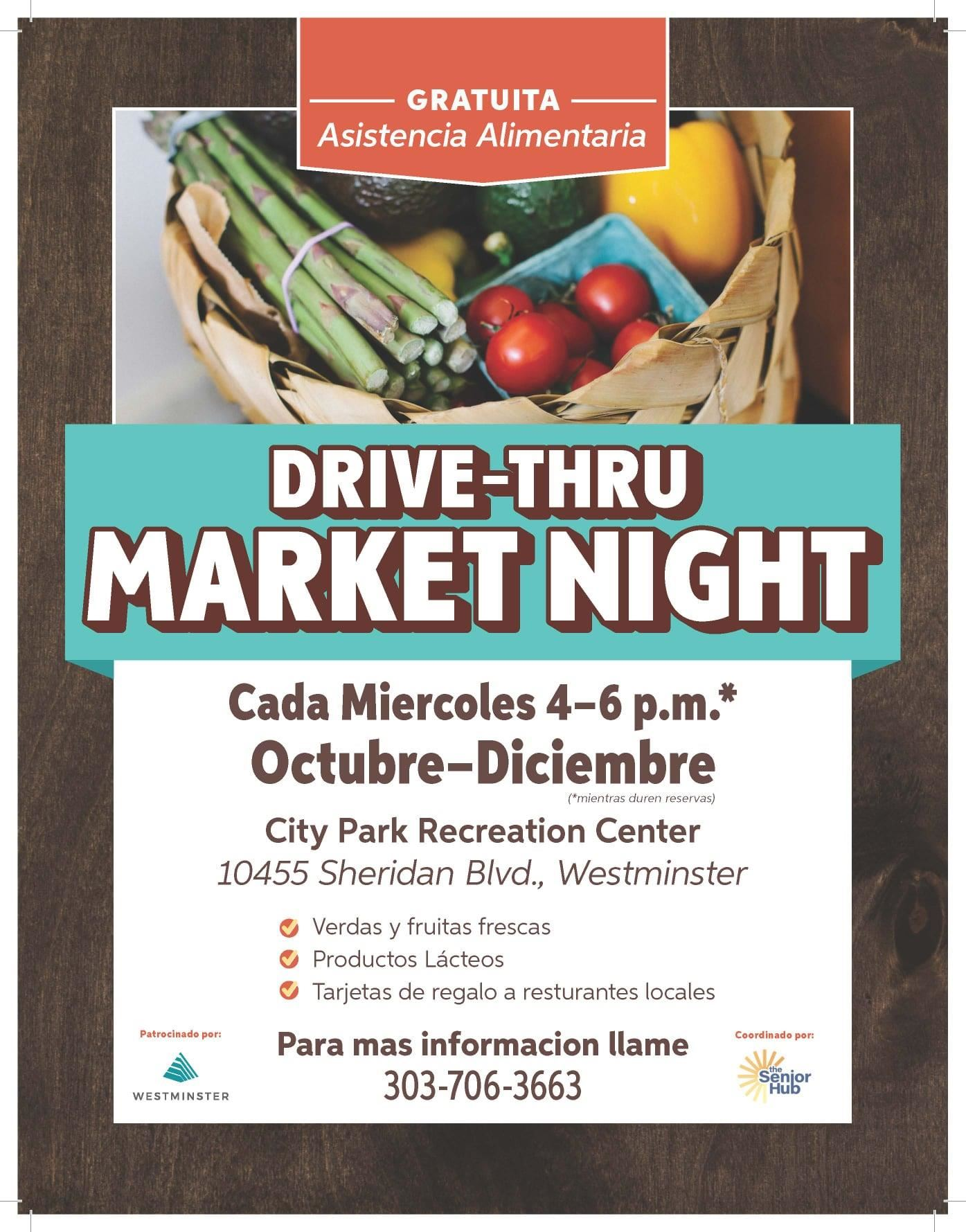 Drive-Thru Market Night Spanish poster