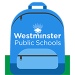 westminster public schools logo on a blue backpack