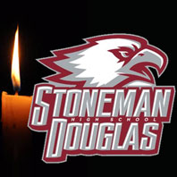 image of the Stoneman Douglas High School logo and a candle burning