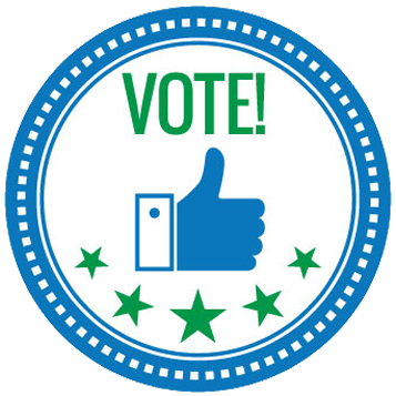 blue circle with a thumbs up and the word vote