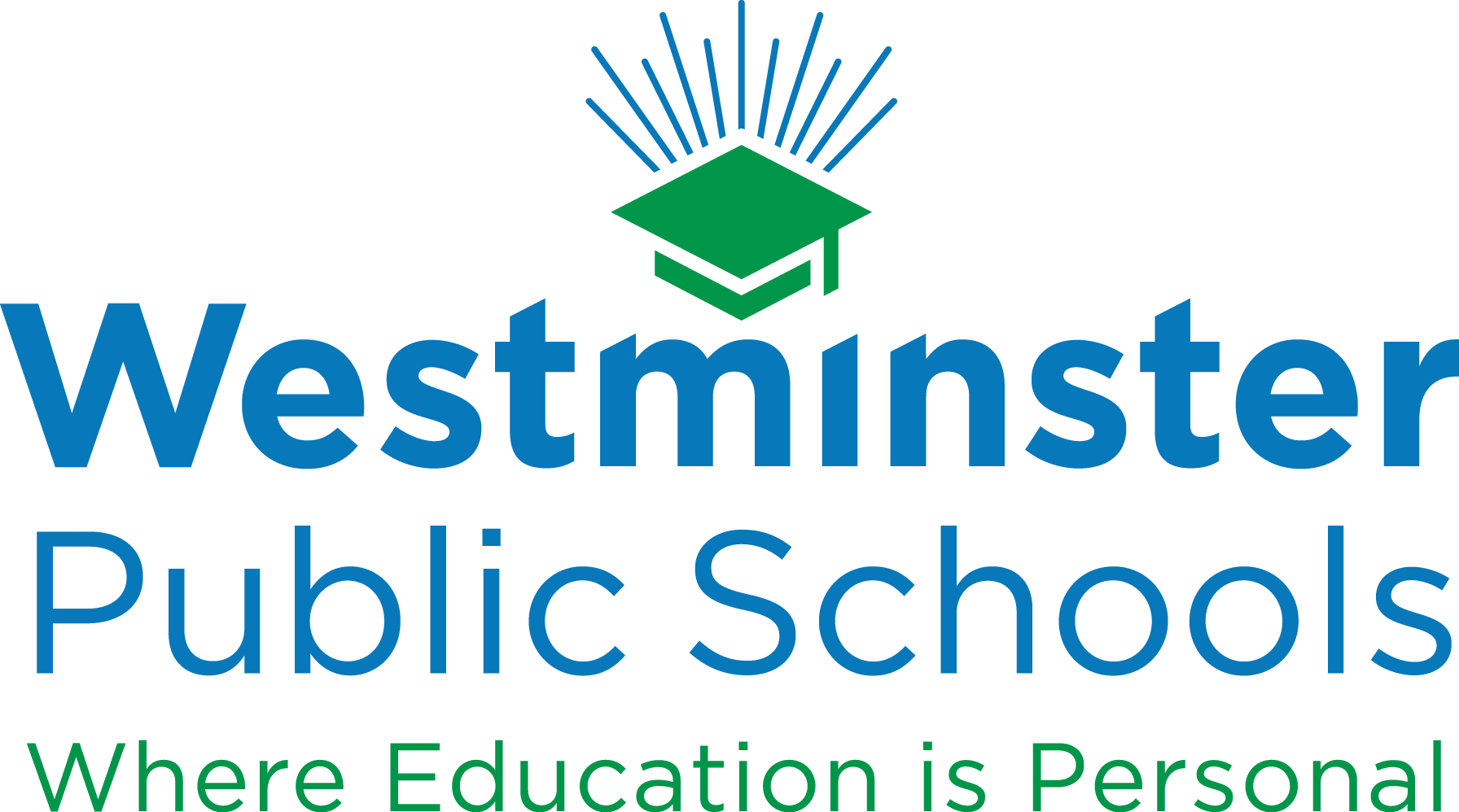 westminster public schools logo, text: where education is personal