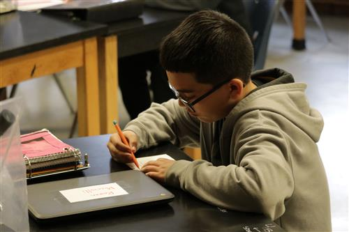 A boy student at Ranum Middle School works on a project in class.