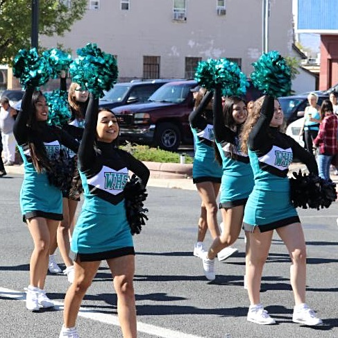 cheerleaders at westminster high school in the parade