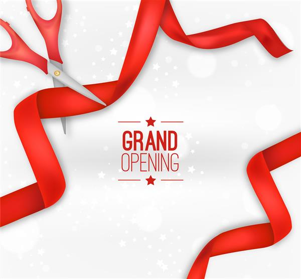 graphic of scissors, red ribbon and stars, text: grand opening