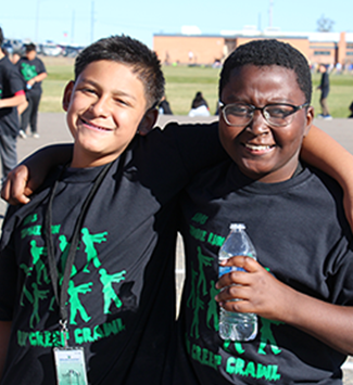 Shaw Heights students hang out after the Turkey Trot