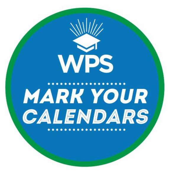 blue and green circle with the westminster public schools logo, text: mark your calendars WPS