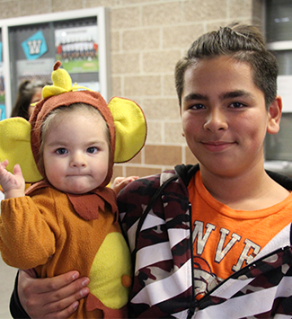 A child in his halloween costume during the 2019 WPS District Showcase