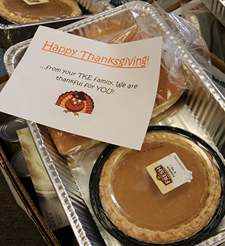 Thanksgiving meal baskets at Tennyson Knolls Elementary