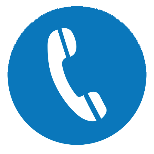 icon of a telephone with a blue background