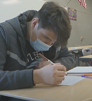 WHS student with a mask in a classroom