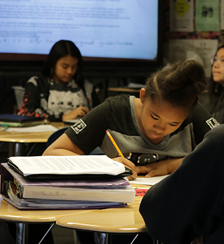 Ranum Middle School student works on classwork
