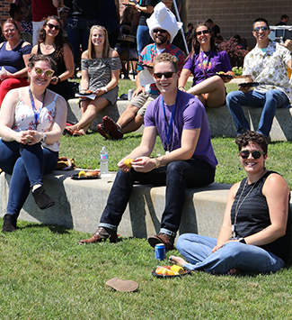 WPS Staff enjoy lunch during the Welcome Back BBQ