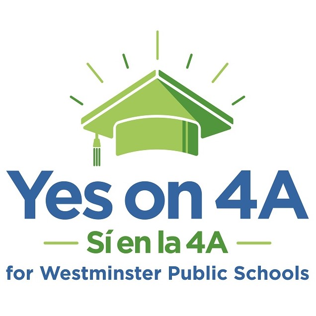 green graduation cap. text: yes on 4A si en la 4A for westminster public schools