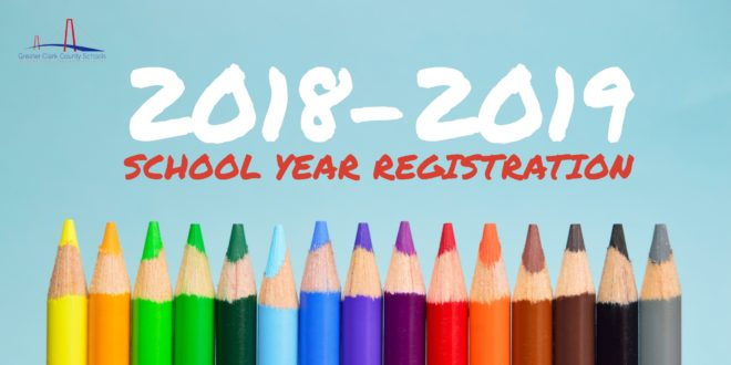 2018-2019 School Registration text above line of colored pencil tips