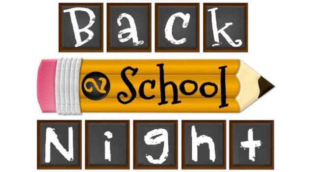 Back 2 School Night with 2 School written on a horizontal pencil between letter tiles