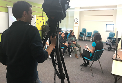 Students being interview by CBS 4 Denver