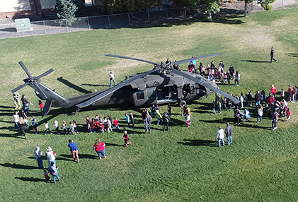 Red Ribbon Campaign at Mesa Elementary with Helicopter