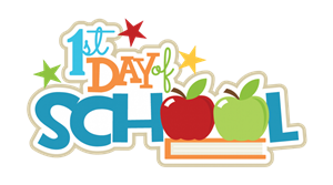 1st day of school with apples, books and stars