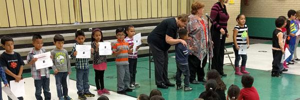 Sherrelwood students receive awards at a school assembly
