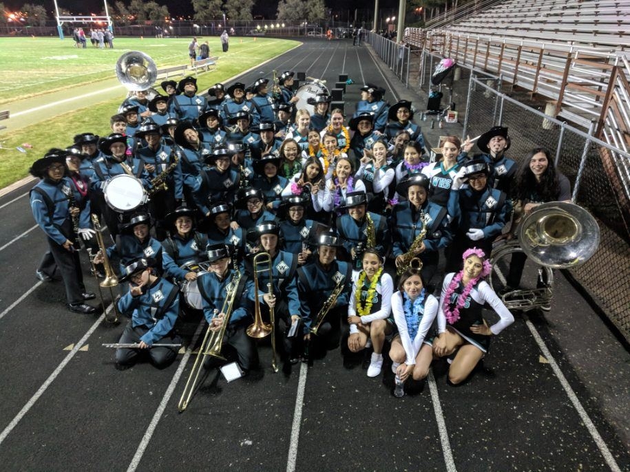 group of students in band during homecoming