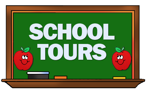 green chalkboard; two smiling apples; text: school tours