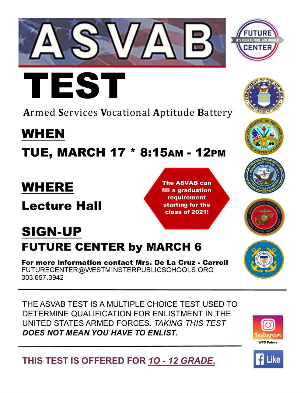 MARCH 17  |  ASVAB Test, WHS - Lecture Hall, 8:30 am - 12:00 pm