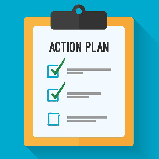 image of a clip board and a checklist with text: action plan