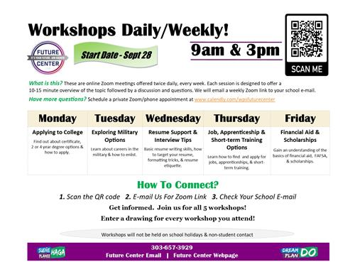 Future Center Workshops Daily/Weekly!
