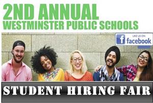 2nd annual westminster public schools student hiring fair picture with students smiling