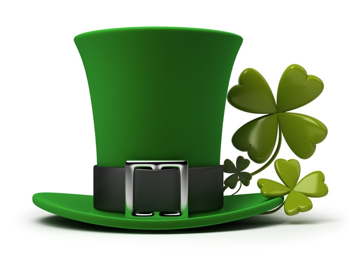 Green hat with shamrock