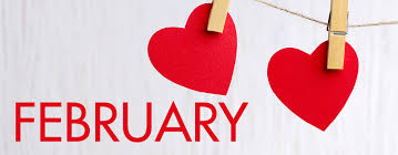 february word with hearts