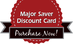 red seal with a black ribbon and text: major saver discount card purchase now!