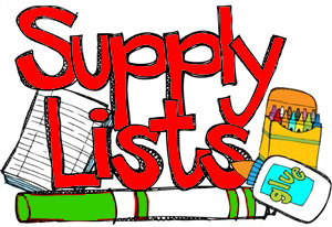 glue and crayons with text: supply lists