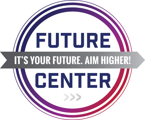 Future Center logo; text: future center, it's your future, aim higher