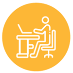 orange icon of a person sitting at a desk on the computer