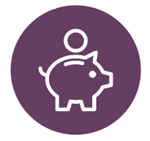 piggy bank icon with money on a purple circle