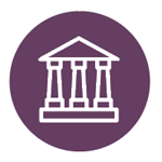 icon of a building with columns on purple circle