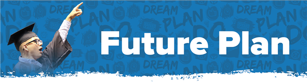 graduate pointing to the sky, dream plan do words on blue background, text; future plan