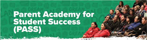 parent academy for student success on green background and image of parents