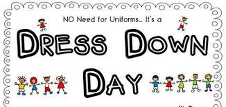 Text of no need for uniform it's a dress down day with animated children around