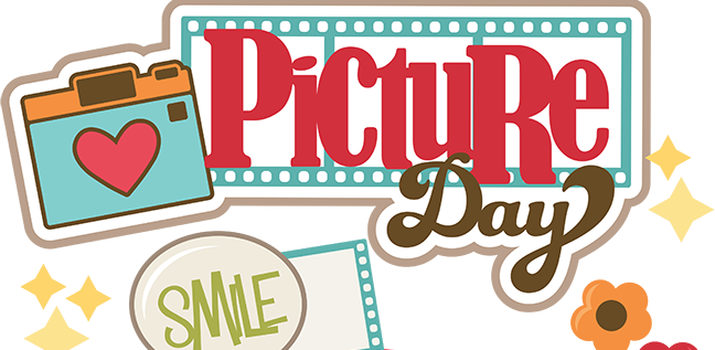 Image of a camera with a heart, flower and text: Picture Day and smile.