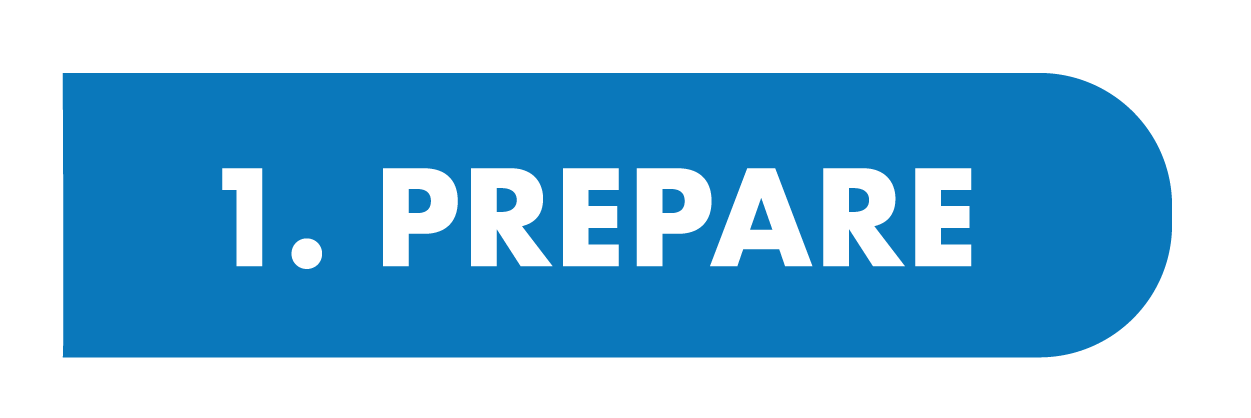 blue button with text: 1.prepare