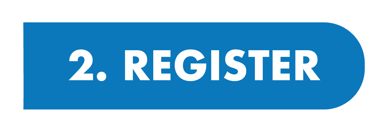 blue button with text: 2. register