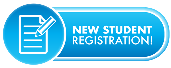blue button with a paper and pencil icong and text: new student registration!