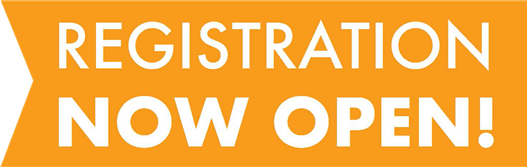 orange flag with text: registration now open! 2018-19