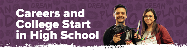 careers and college start in high school on purple background and kids shooting videos