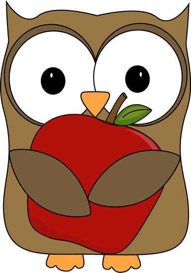 owl holding red apple