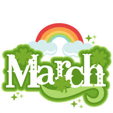 March spelled out in white letters with a rainbow and clouds in the back