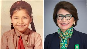 Sylvia Acevedo as a child and now