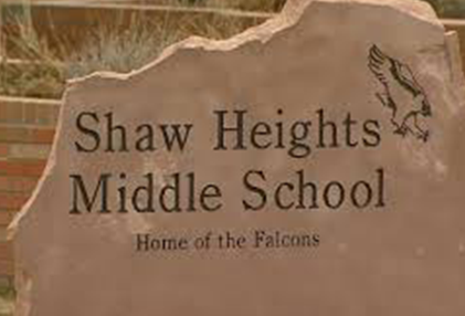 Shaw Heights Middle School sign